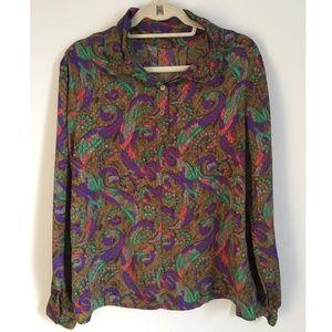3371c6b84790b NICOLA Tops - Vintage Silky Paisley Print Button Down Shirt